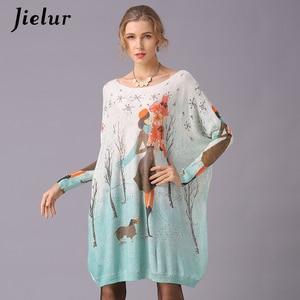 Image 2 - Jielur Sweater Women Cartoon Printed Long Sleeve Jumper Kawaii Knitted Sweaters Spring Autumn Pullover Basic Pull Femme