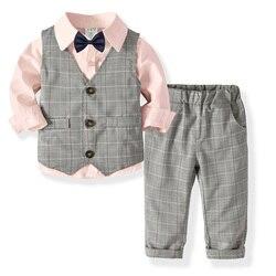 Зимняя одежда для мальчиков, комплект одежды для маленьких мальчиков, детская одежда, модная футболка в джентльменском стиле + штаны, компле...