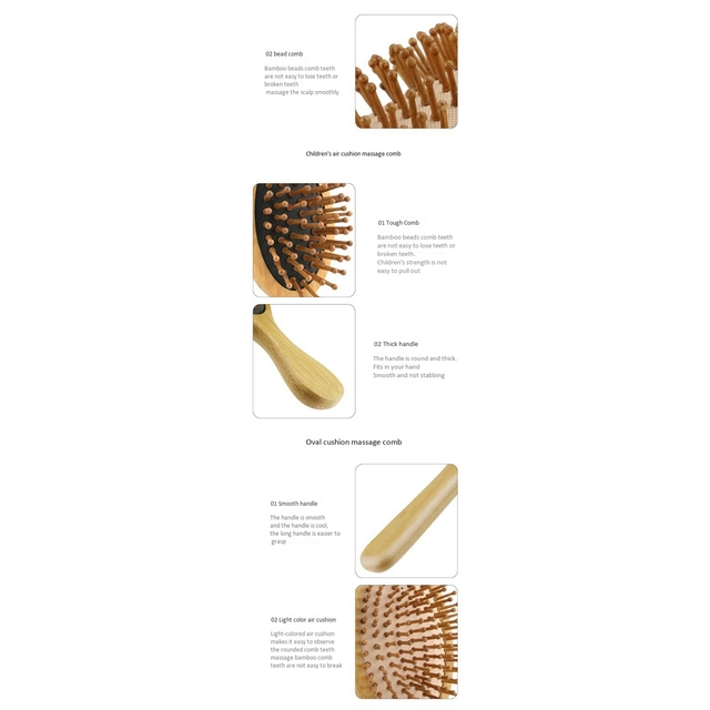6PC/Set Wood Comb Healthy Paddle Cushion Hair Loss Massage Brush Hairbrush Comb Scalp Hair Care Healthy Bamboo Comb 3