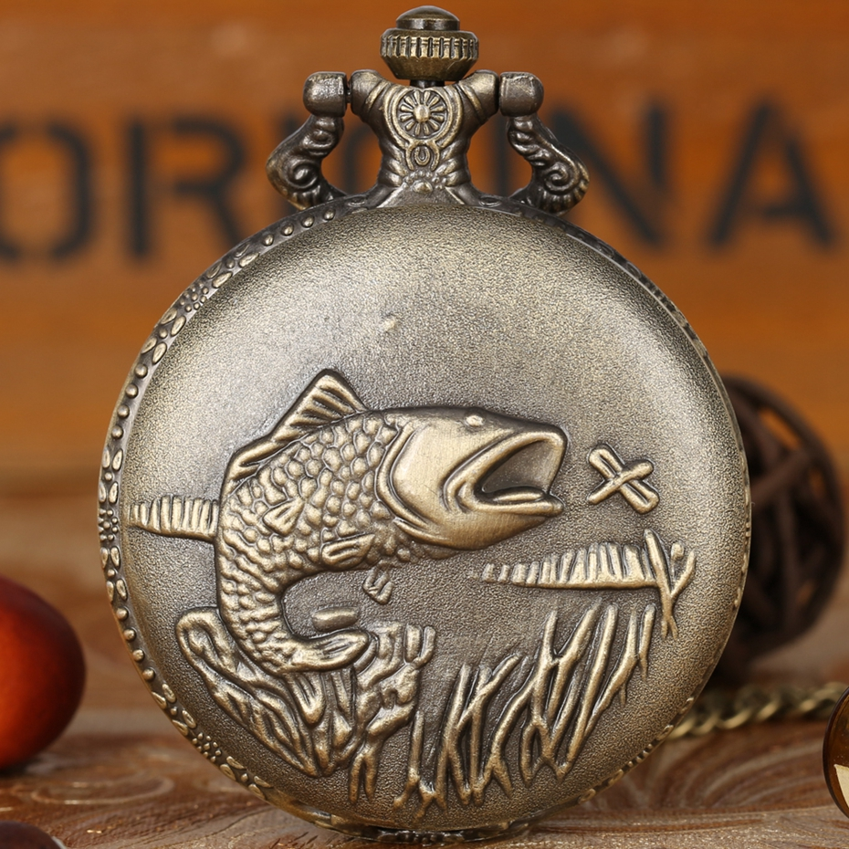 Delicate Carved Fish Quartz Pocket Watch Punk Fishmen Fishing Necklace Pendant FOB Chain Clock For Men With Fish Tail Accessory