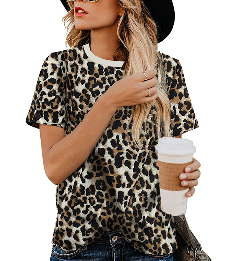 2020 Spring Summer New Women T-shirt Casual Leopard Print Round Neck Short Sleeve Shirt Ladies Tops Tees Womens Clothing  (7)