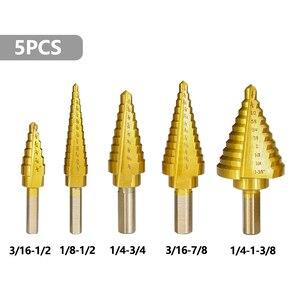 Image 2 - XCAN 5pcs HSS Titanuim Straight Flute Step Drill Bit Set Pagoda Shape Hole Cutter in Aluminum Case Core Drill Bit