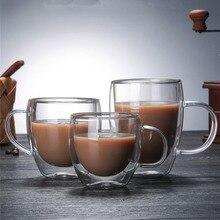 Стеклянные кофейные кружки с двойными стенками для путешествий, двойные кофейные чайные чашки, термостойкая кружка с ручкой, чашка для молока, чашка для лимонного сока, посуда для напитков