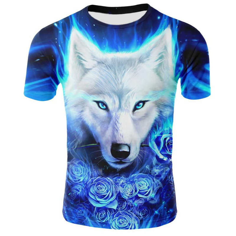 2019 Men Clothes 3D Print Wolf T-Shirt Summer Casual Short Sleeve O-neck Tops Tees Trendy Animal Printing Tshirt Male