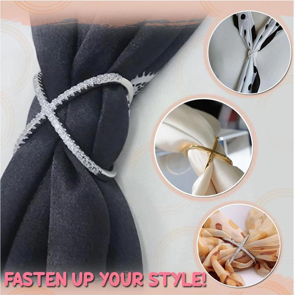 Scarf Buckle Clip Fashion Scarf Ring Buckles X-Shaped Silks Scarves Buckle Electroplate Pins