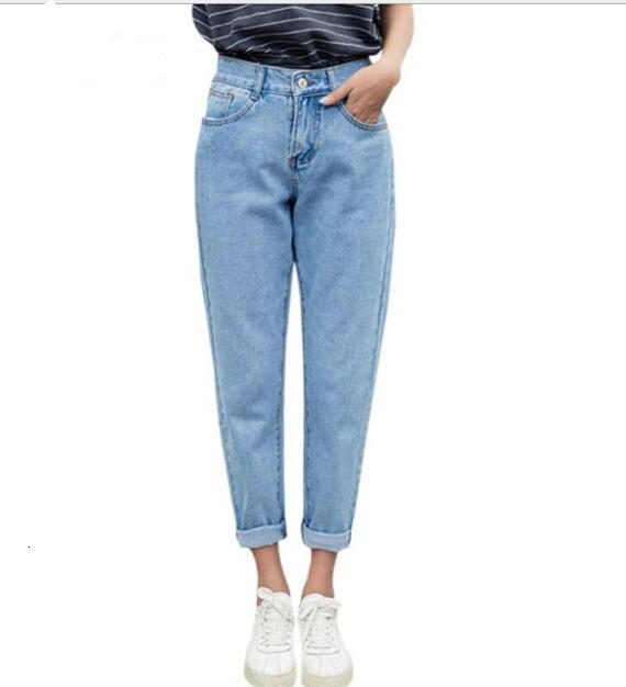 Spring And Herf Jeans Women Fashion Blue Tall Loss Jeans Women's Handbook Men's And Women's Jeans Women