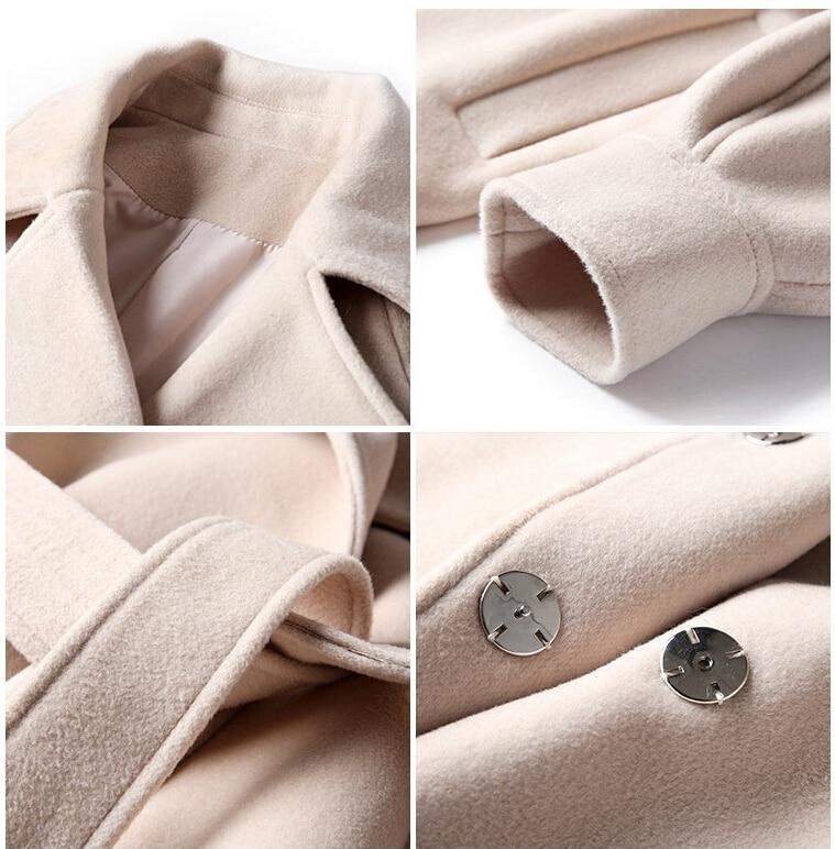 2019 Autumn Winter Woolen coats Women Lantern Sleeve Wool&blends Long Woolen Coat Casual Loose Wool Jacket Female Outwear 21