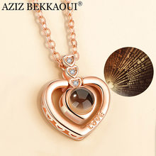 AZIZ BEKKAOUI Women Pendant Necklace With Gift Box 100 Languages I Love You Chain Choker Pendant Necklace Valentine's Day Gift(China)