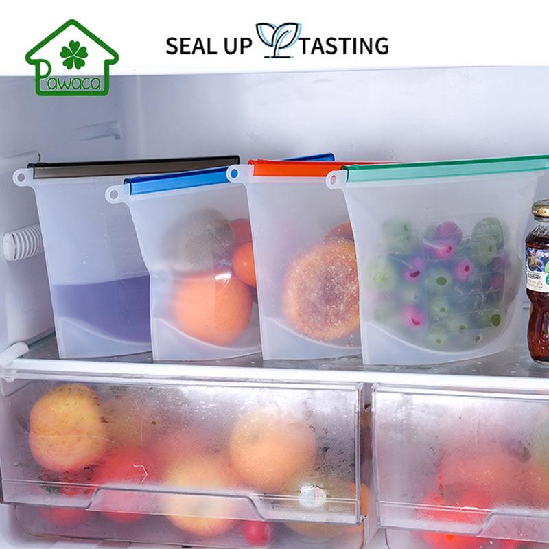 1000ml Capacity Kitchen Food Sealing Storage Bag Seal Silicone Reusable Refrigerator Fresh Bags Fruit Meat Milk Storage Bags