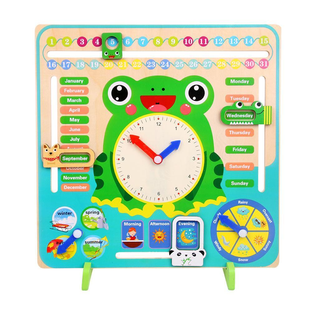 Kids Toys Weather Calendar Cognitive Alarm Clock Child Early Puzzle Primary School Wood Puzzle Toy Learning Kindergarten Wholesa