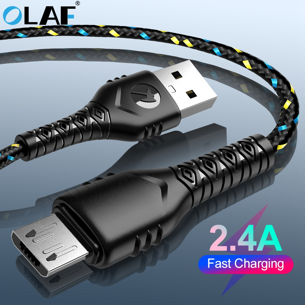 Micro USB Cable 2.4A Nylon Fast Charge USB Data Cable for Samsung Xiaomi Huawei LG Tablet Android Microusb Mobile Phone Cables