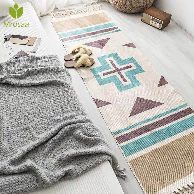 New Retro Bohemian Hand Woven Cotton Linen Carpet Tassel Bedside Rug Geometric Floor Mat Long Carpets Rug Living Room Home Decor