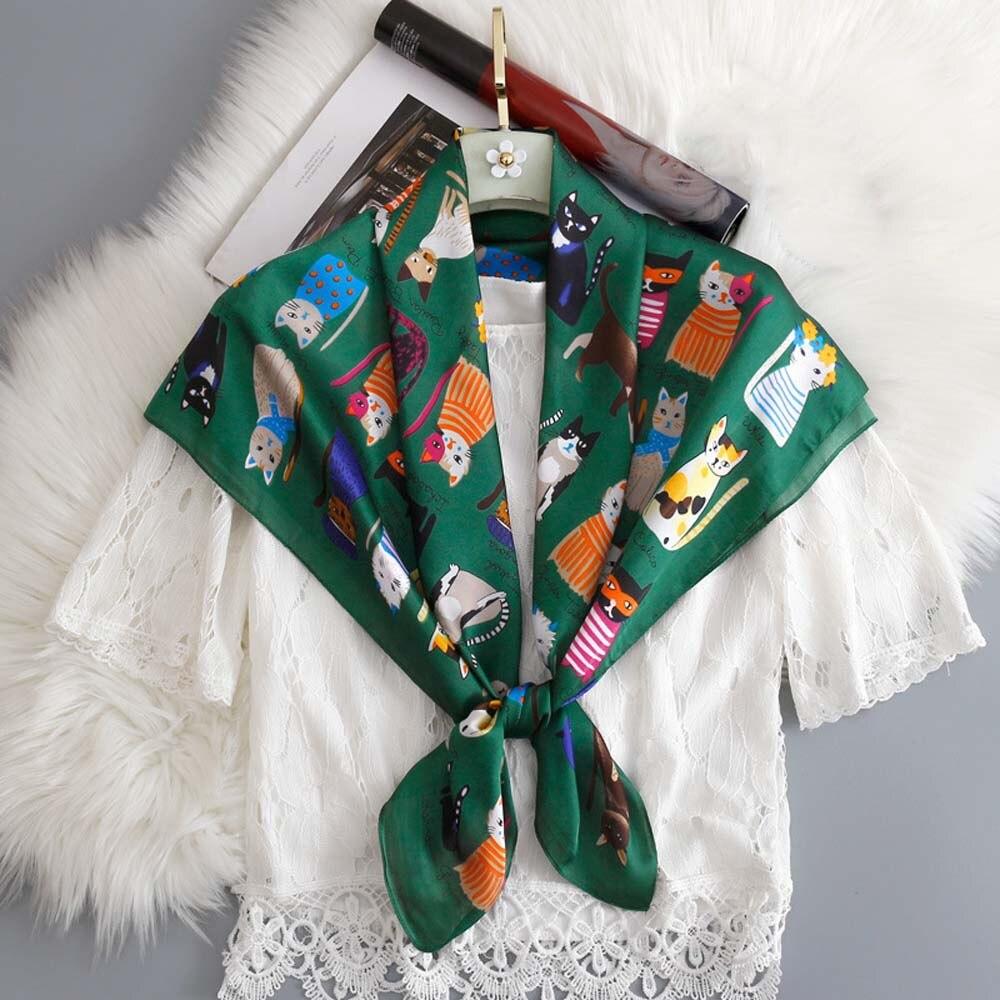 Fashion Kerchief Ladies/' Ribbon Scarves Navy Blue Printed Small Neck Tie Scarf