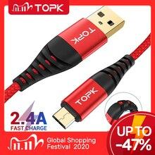 TOPK hi rozciągliwy kabel Micro USB kabel nylonowy kabel danych kable telefonów komórkowych do Samsung Galaxy S7 krawędzi S6 Xiaomi Redmi uwaga 5
