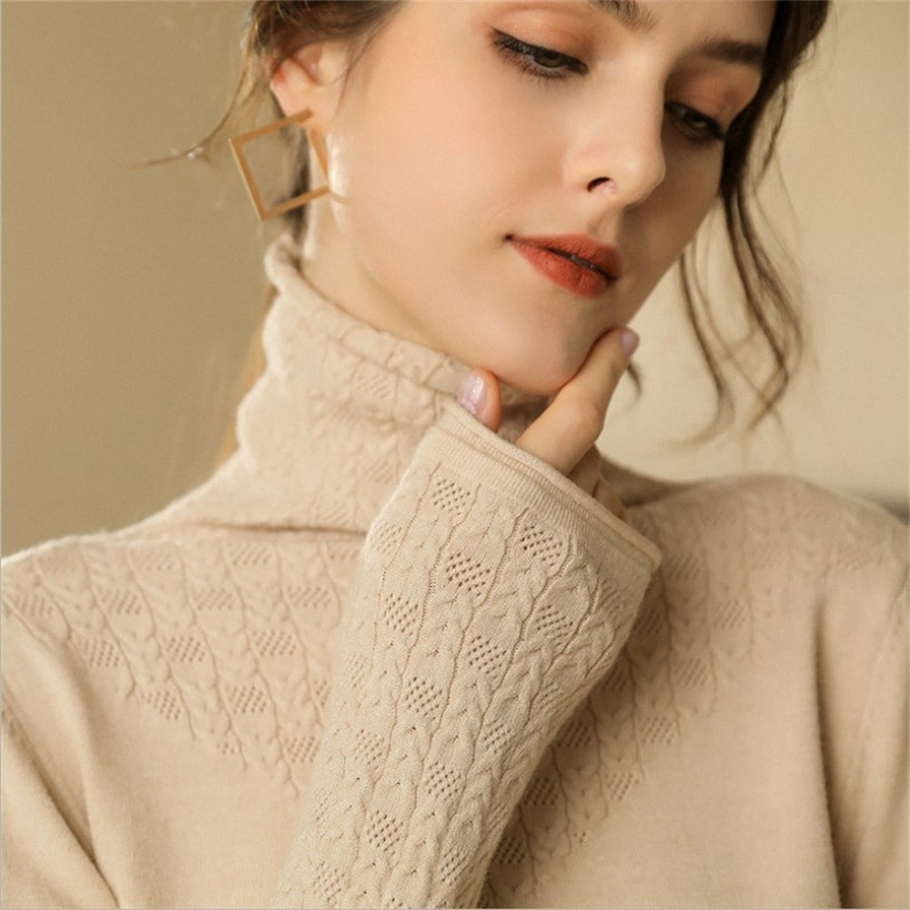 The New Winter Sweater Women Temperament Turtleneck Sweater Mature Woman Cashmere Sweater Women Knitted Sweater Pure Color Wild