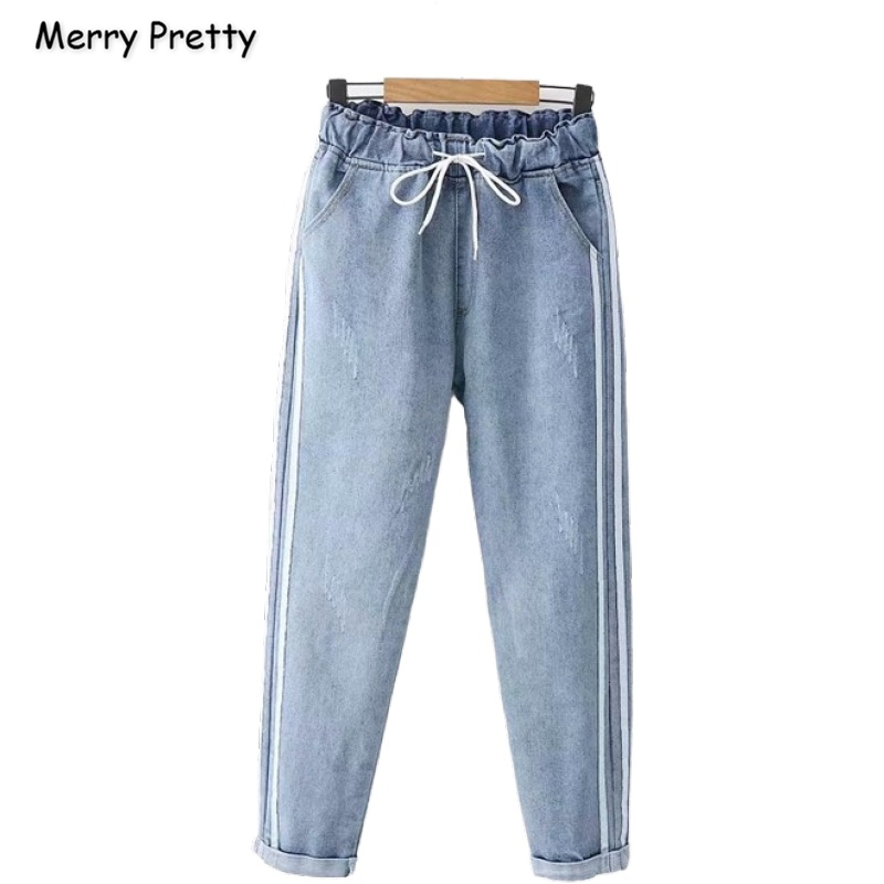 Women's Denim Striped Pants Striped Pockets Jeans For Girl 2020 Spring New High Waist Casual Loose Pant MERRY PRETTY