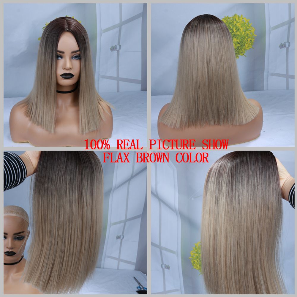 FAVE Ombre black Pink/Blonde/Grey/Flax Brown Straight Synthetic Wig Shoulder Length Middle Part Cosplay For Black Women's Wig