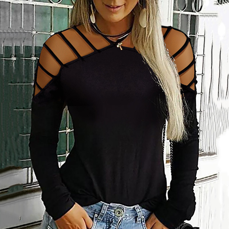 2019 Autumn Long Sleeve Sexy Shirts For Women Hollow Out Blouses Causal Plus Size Loose Tops Black White Gray Red Tees Female