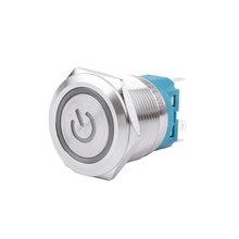 Металлическая латунная кнопка-переключатель, 22 мм, кольцо для подсветки, мгновенный самосброс/самоблокировка, 1NO 1NC, автомобильная кнопка-на...
