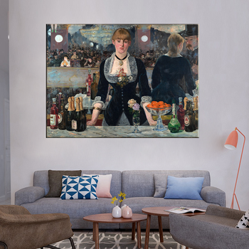 Edouard Manet A Bar At The Folies Oil Painting Canvas 3