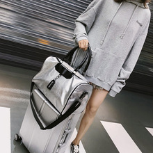 fashion silvery black patchwork PU large-capacity boarding s