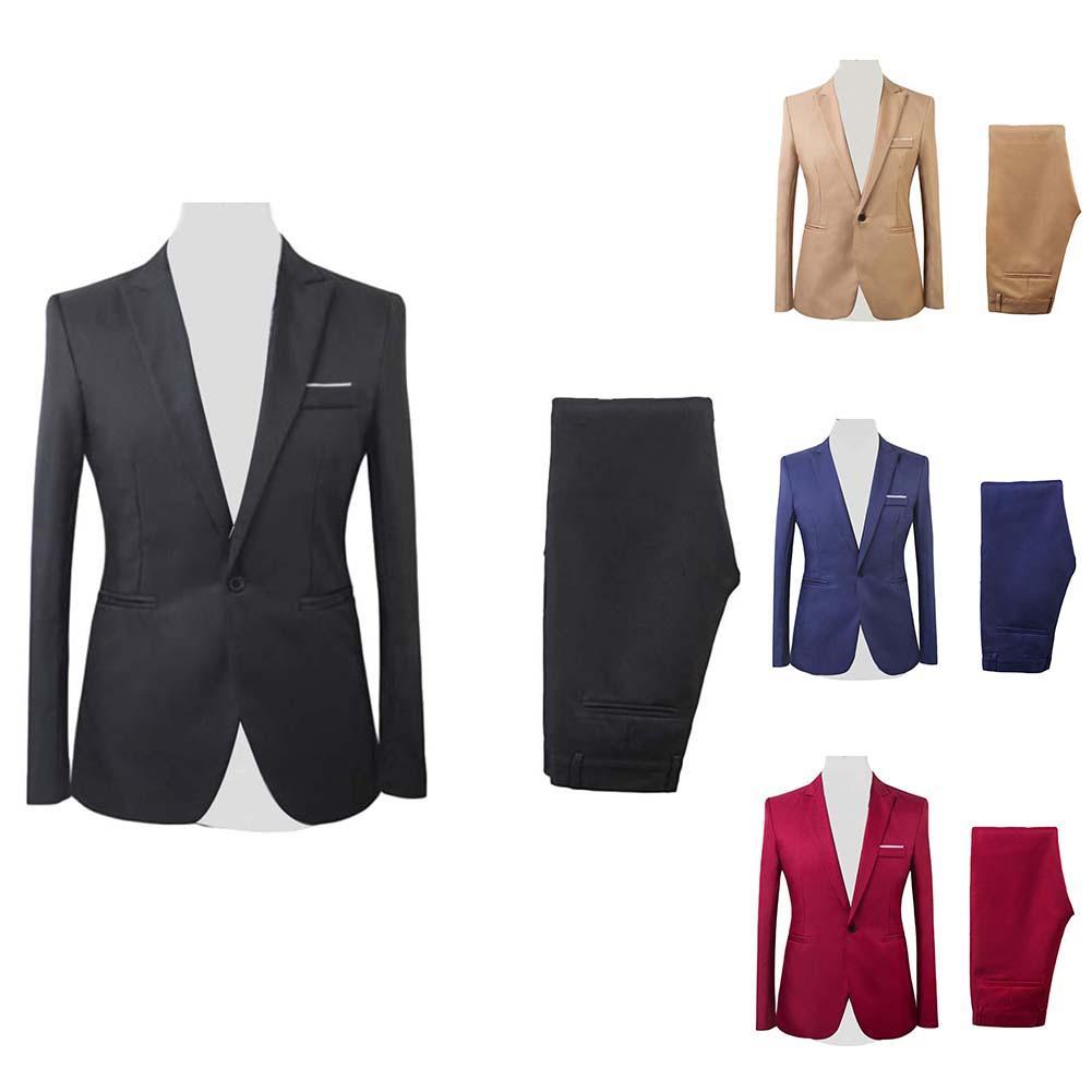 2019 Asian Size Mens Suits Set Formal Blazer Pants Marriage Tuxedo Male 2 Piece Suit Set Terno Wedding Mens Suit