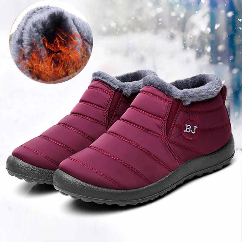 Повседневная женская обувь; Зимние ботильоны на плоской подошве; женская обувь без шнуровки; пушистый мех; нескользящая обувь; большие размеры; теплые плюшевые зимние сапоги для пары; zjvi