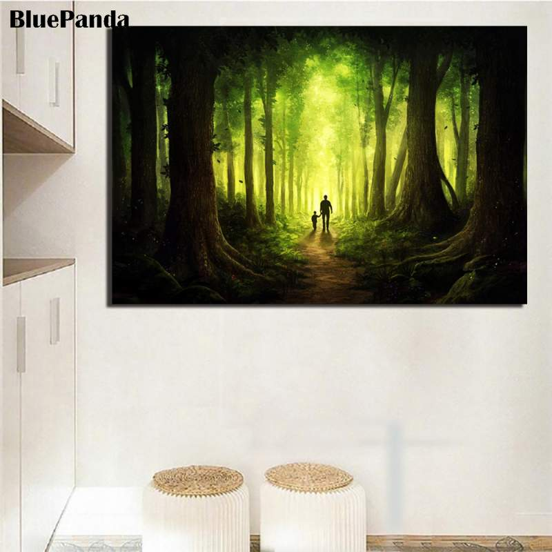 Searching For God Art Print Fantasy Forest Father And Son Painting Posters Decorative Wall Art Pictures For Living Room Decor Painting Calligraphy Aliexpress