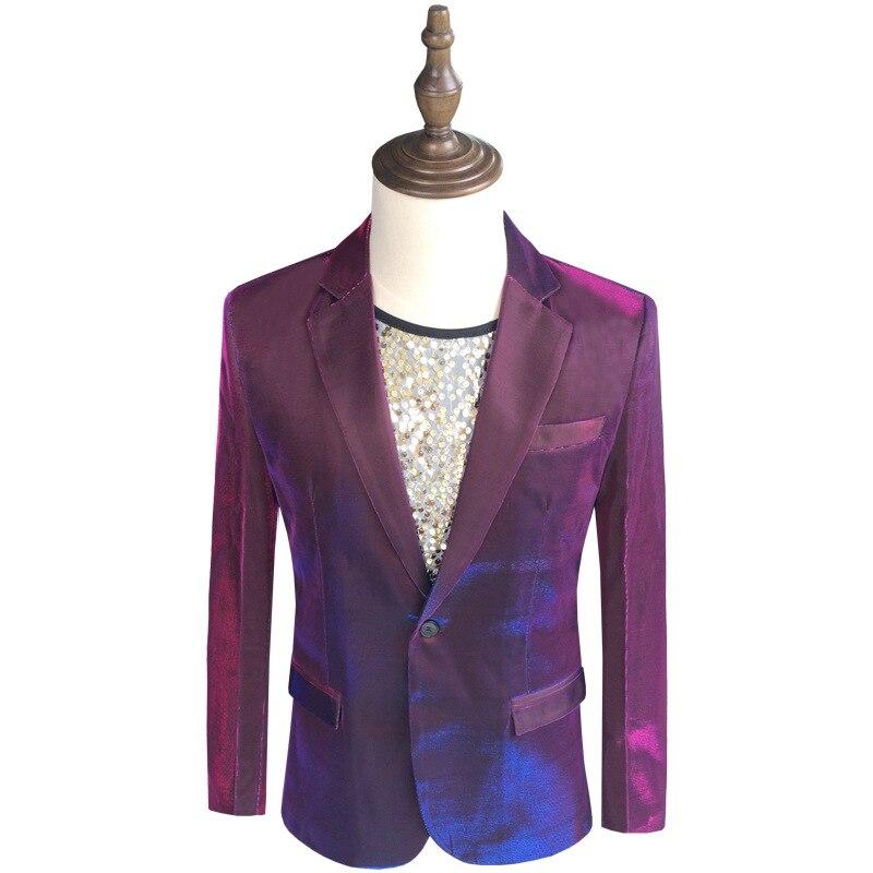 Violet mâle jolie pochette veste soirée fête bal hommes mode Slim Fit costume manteaux homme présentateur scène vêtements personnalisés