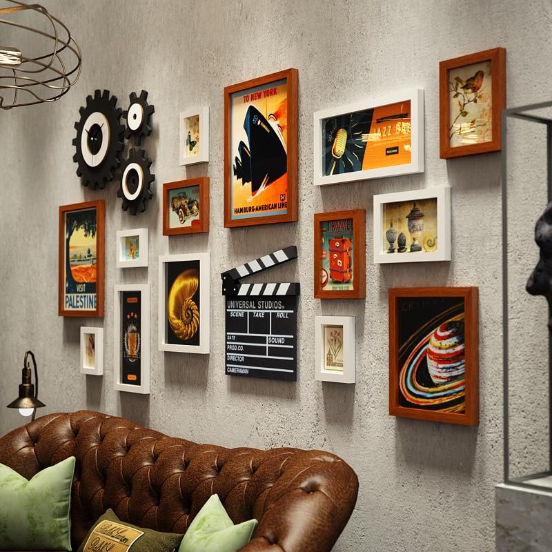Американская фоторамка креативная фоторамка сочетание часов промышленная ветровая подвесная стена для гостиной фото Настенная роспись ук... - 3