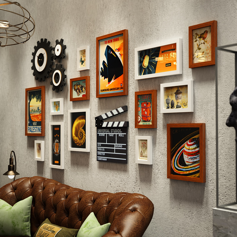 Amerikanischen Foto Wand Kreative Foto Rahmen Uhr Kombination Industrielle Wind Hängen Wand Wohnzimmer Foto Wandbild Dekoration - 3