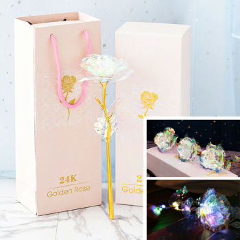 2021 Valentine's Day Gift 24K Gold Foil Rose Flower LED Luminous Galaxy Artificial Rose Everlasting Flower Mother's Day Rose image