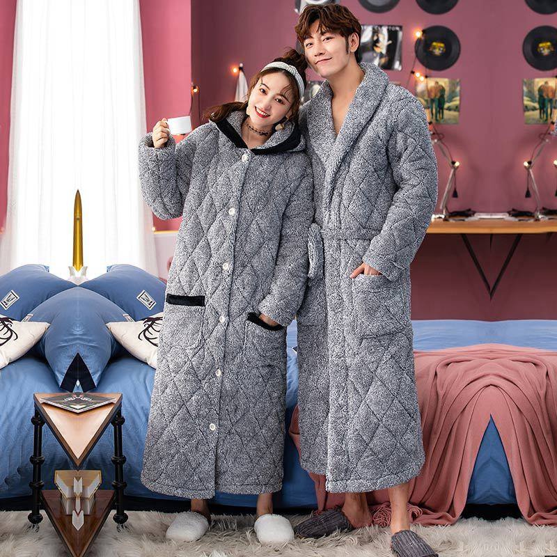 Women Men Winter Plus Size Warm Flannel Bathrobe Extra Long Thick Fleece Bath Robe Hooded Night Dress Gown Sleepwear