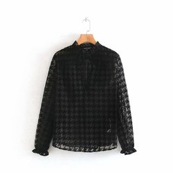 women sexy deep v neck houndstooth pattern casual mesh blouses shirts women long sleeve ruffles lace up smock blusas femininas transparent chemise tops LS4299 1