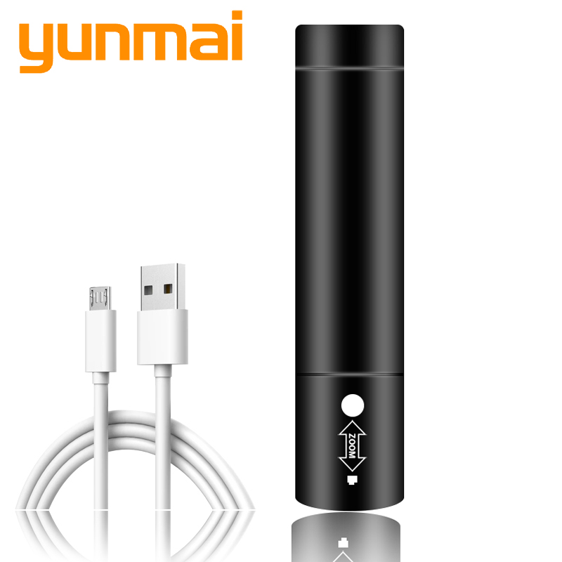 Power bank LED Flashlight torch XM-L T6 3 modes switch zoom lens built in rechargeable battery head flashlight lamp