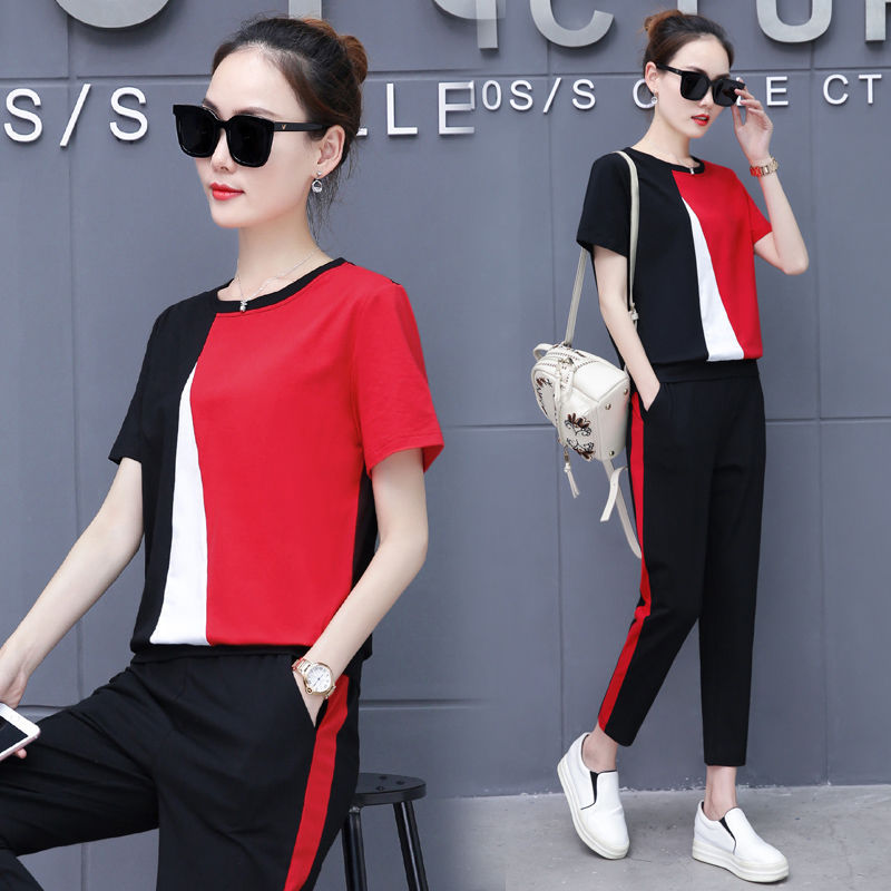 2020 New Style Summer Sports Clothing WOMEN'S Suit Two-Piece Set Western Style Korean-style Loose Casual Slimming Capri Pants Se