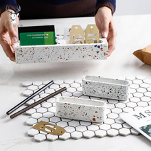 Terrazzo Business Name Card Holder Card Display Stand Rack Desktop Table Organizer Office Supplies Card Storage Rack Decor