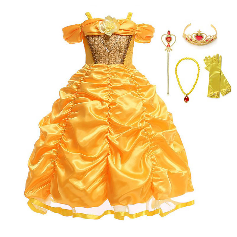 Muababy Belle Costume Girls Beauty And The Beast Princess Dress Up Children Shoulderless Layered Ball Gown For Halloween Hot Price 2e338 Cicig