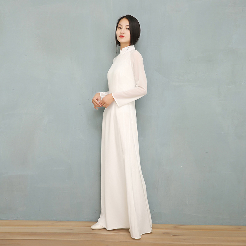 2019 Vietnam Ao Dai White Solid Chiffon Perspective Dress For Woman Chinese Cheongsams Full Sleeve Female Oriental Dress