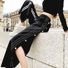 Pantaloni a vita alta con spacco laterale Sexy Plus Size moda donna vita elastica pantaloni larghi pantaloni Casual pantaloni larghi femminili