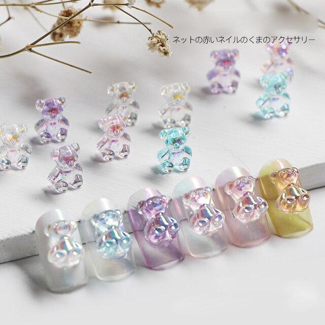 Mixed Size  Aurora Little Bear Nail Art Accessories Resin Kawaii Bear Stereo 3D Fashion Fingernail DIY Decoration 3