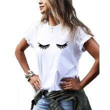 Eyelash Graphic Tee Women Summer Short Sleeve Cotton Funny T