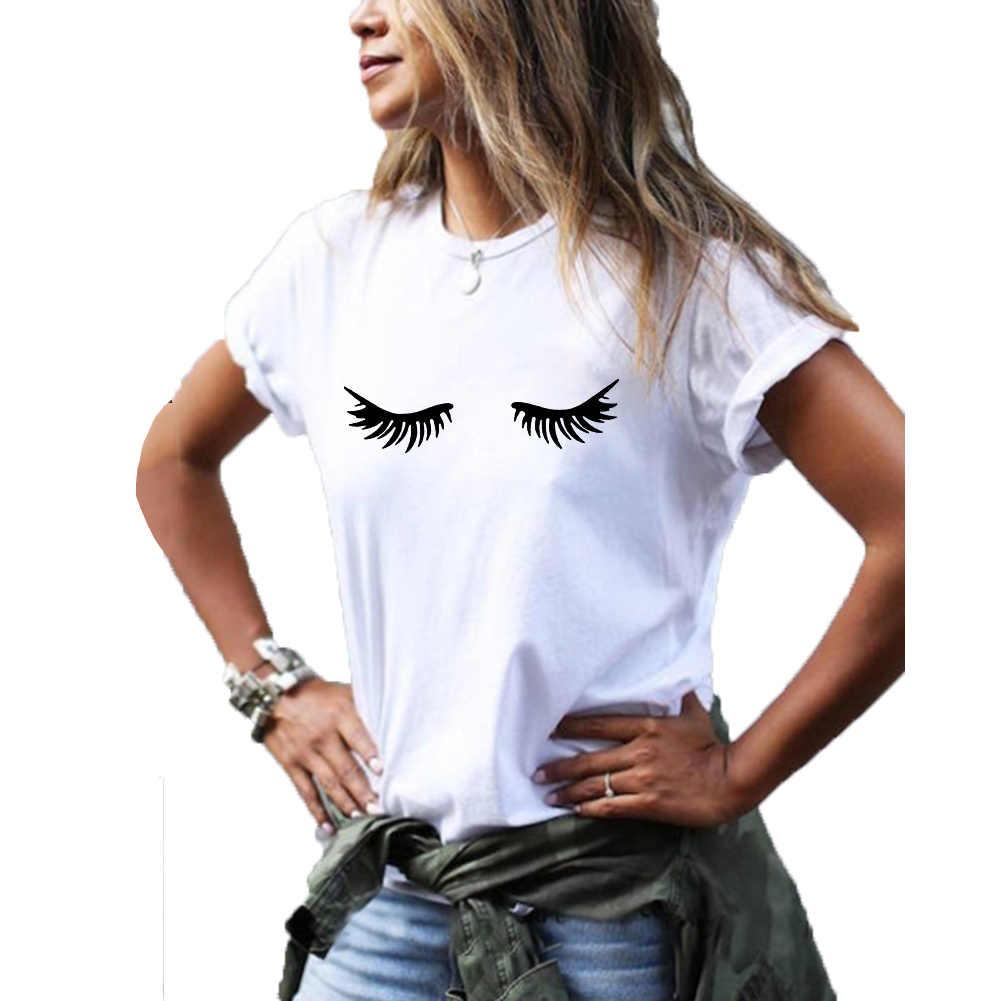 속눈썹 그래픽 티 여성 여름 짧은 소매 면화 재미 T 셔츠 여성 블랙 화이트 Tshirt 여성 캐주얼 Poleras Mujer
