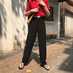Image 2 - Pants Women Retro High Waost Solid Color Leisure Pant Spring Womens Korean Capris Elegant All match Trouser Ladies Button Pocket