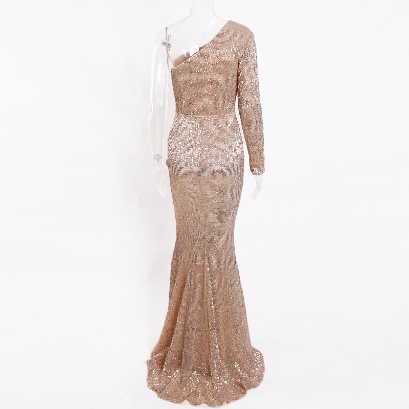 One Shoulder Stretchy Backless Sequin Long Bridesmaid Dress 38