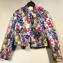 Brand new high quality floral beading womens jackets 2019 autumn runways flower applique short coat A871
