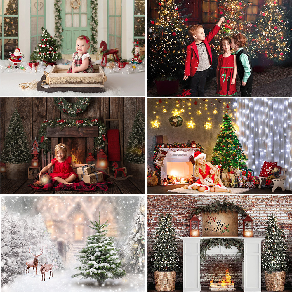 Christmas Backdrop for Photography Firelpace Window Winter Snow Background Photocall Christmas Tree Family Party Video Props