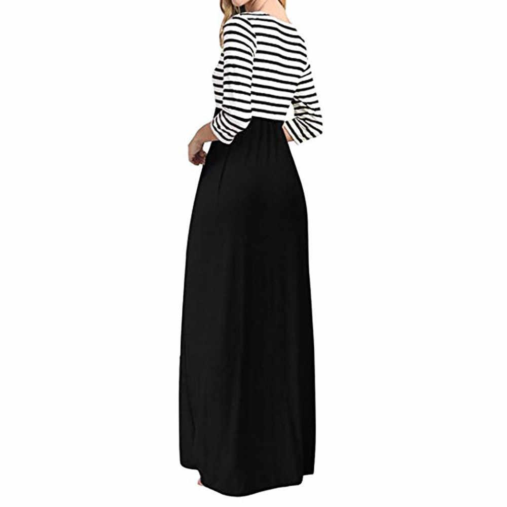 MISSOMO robe d'été femmes casual vestidos rayure à manches longues taille haute Boho longue robe Maxi grande taille avec poches en gros 7