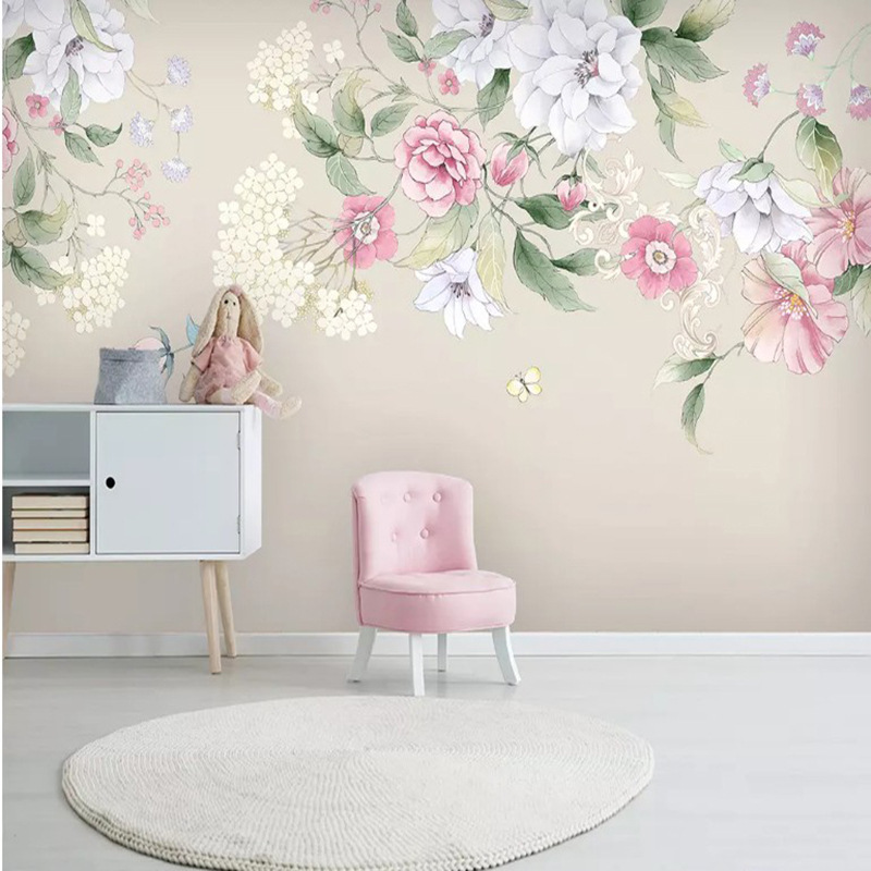 6d Stereo Hand-Painted Watercolor Flower Pastoral Style Wallpaper Mural Living Room Television Background Wall Modern Minimalist