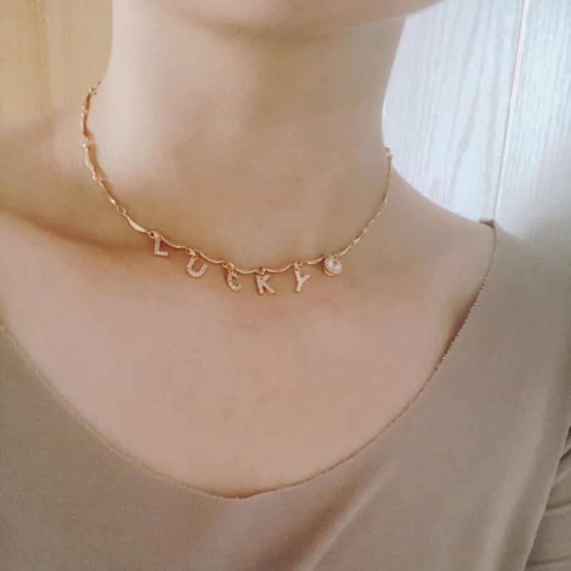 Yoiumit charme nome personalizado colar gargantilha carta zircon colar feminino menina cor de prata ouro personalizado jóias